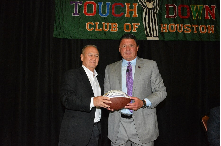touchdownclub-Coach Ed Orgeron spoke to the Touchdown Club Houston in 2019